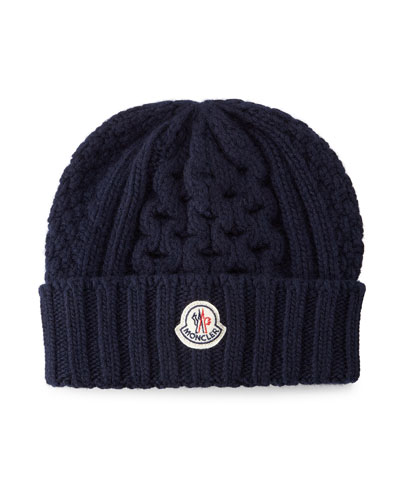Cable-Knit Cashmere Beanie Hat, Navy
