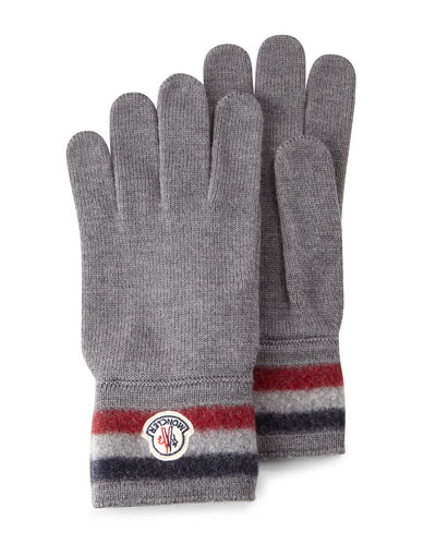 Striped Logo Cashmere Gloves, Gray
