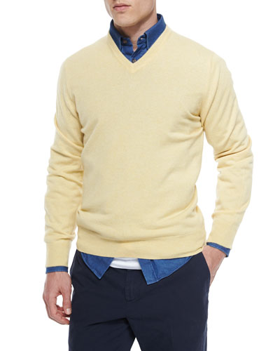 Cashmere V-Neck Sweater, Yellow