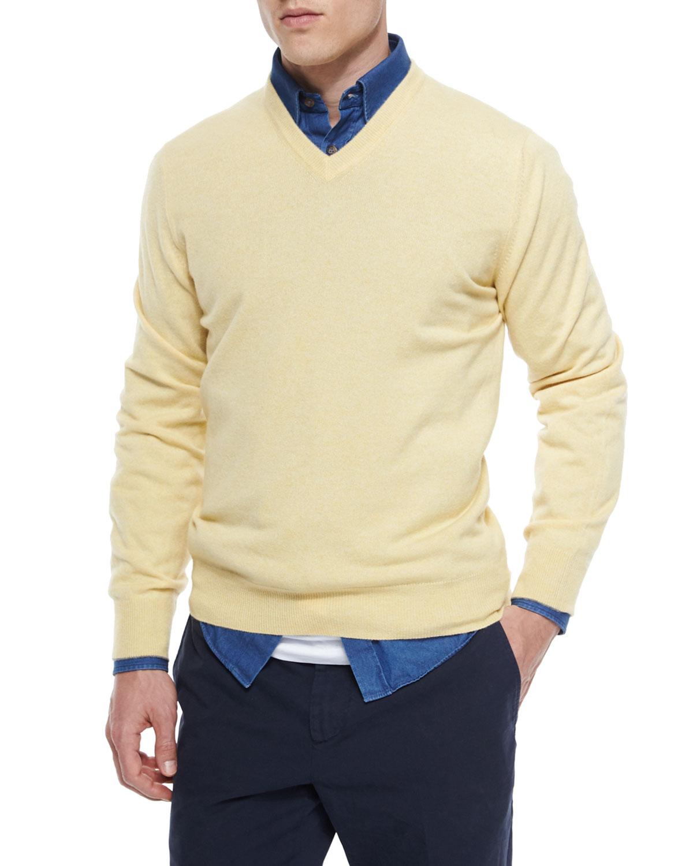Brunello Cucinelli Cashmere V Neck Sweater, Yellow