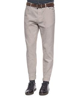 Five-Pocket Cotton Pants, Cream