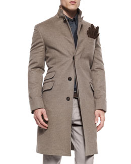 Single-Breasted Flannel Overcoat, Brown