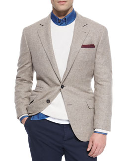 Textured Two-Button Sport Coat, Light Brown