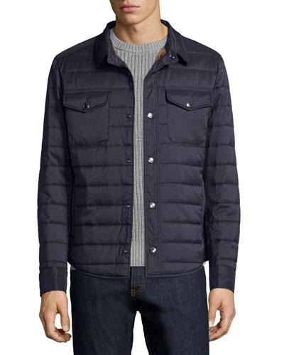 Milano Nylon Shirt Jacket, Navy