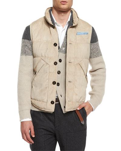 Button-Front Suede Vest, Light Brown