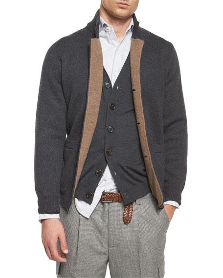 b2d70df1e4 Double-Faced Cashmere Cardigan Light Brown