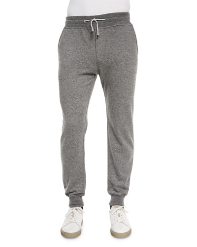 Cashmere Knit Jogger Pants, Gray