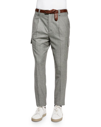 Slim-Fit Wool Cargo Pants, Gray