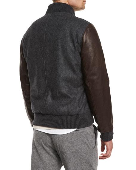 Mixed-Media Wool Bomber Jacket, Dark Gray