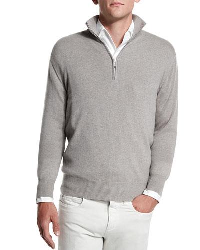 Baby Cashmere Mezzocollo Half-Zip Sweater, Beige