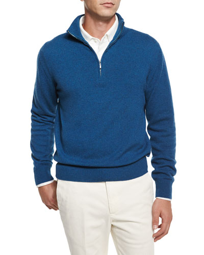Mezzocollo Half-Zip Cashmere Sweater, Blue