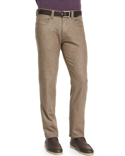 Five-Pocket Flannel Pants, Gray