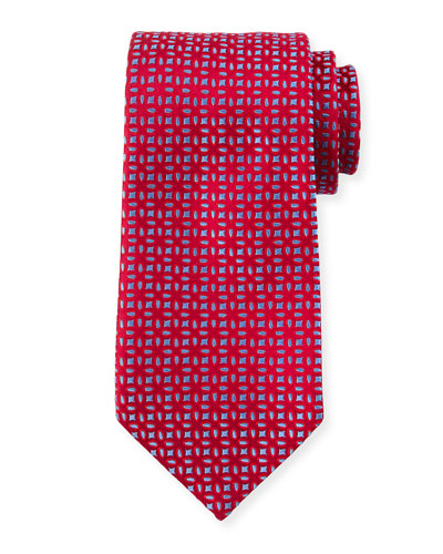Floral-Pattern Neat Silk Tie, Red