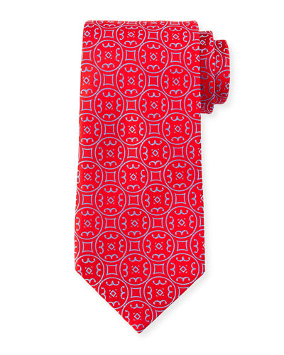 Large Medallion Pattern Tie, Red/Blue