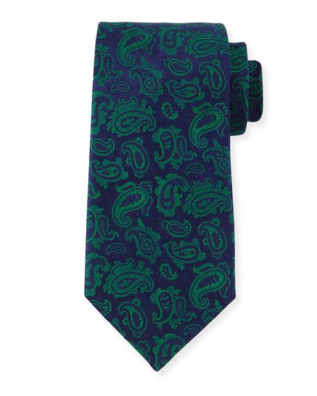 Charvet Paisley-Print Silk Tie, Blue/Green
