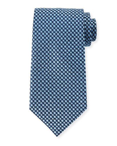 Neat Small-Patterned Silk Tie, Blue