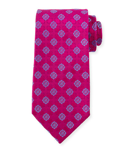 Medallion-Print Silk Tie, Pink/Blue