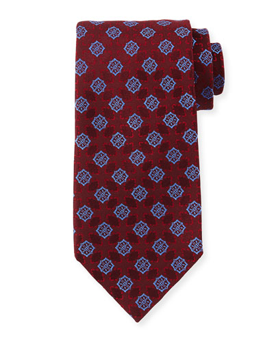 Medallion-Print Silk Tie, Red/Blue