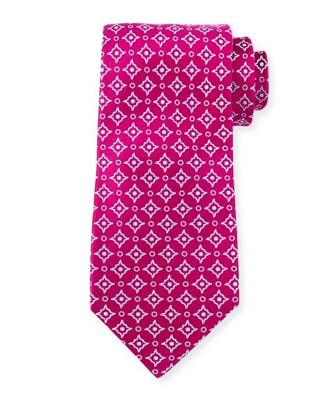Charvet Diagonal Square & Dot-Print Silk Tie, Magenta