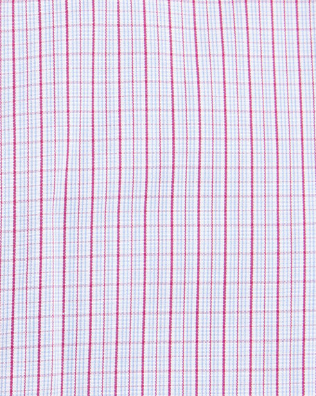 Check Barrel-Cuff Dress Shirt, Pink