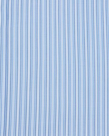 Striped French-Cuff Dress Shirt, Blue