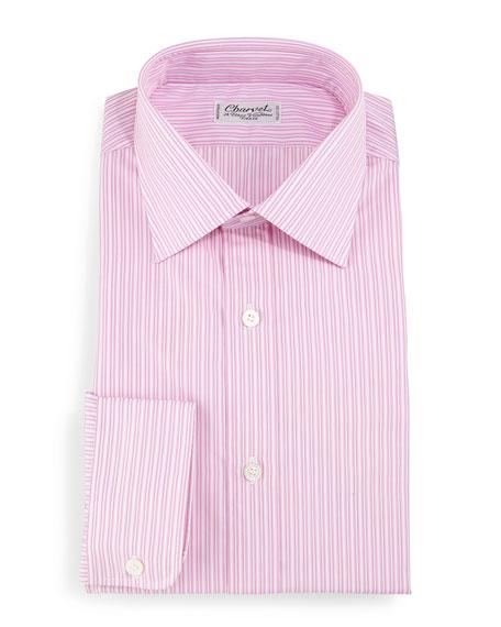 Striped Barrel-Cuff Dress Shirt, Pink