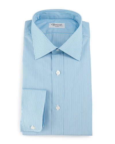Striped Barrel-Cuff Dress Shirt, Teal