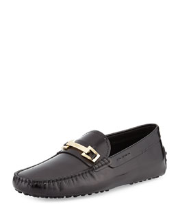 Leather Bit Strap Loafer, Black