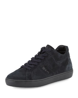 Suede Lace-Up Low-Top Sneaker, Navy