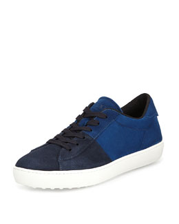 Suede Two-Tone Lace-Up Sneaker, Dark Blue/Blue