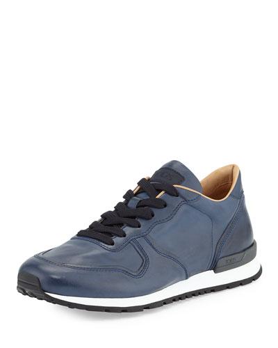 Runner Leather Sneaker, Navy Blue