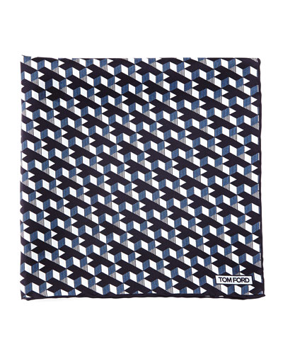 Geo-Print Pocket Square, Blue