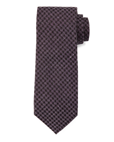 Geo-Houndstooth Tie, Charcoal/Purple
