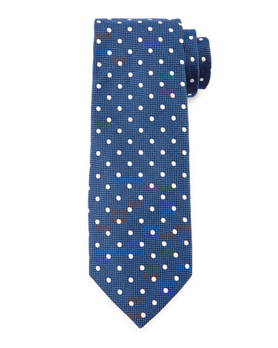 Mini-Dot Print Silk Tie, Blue