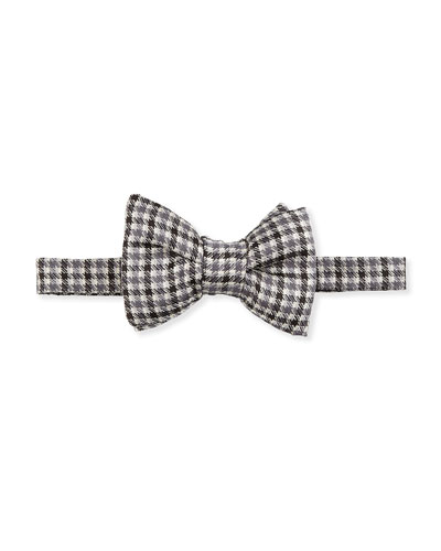 Houndstooth-Stripe Silk Bow Tie, Black