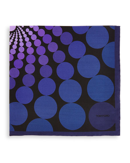 Floating Circle-Print Pocket Square, Purple