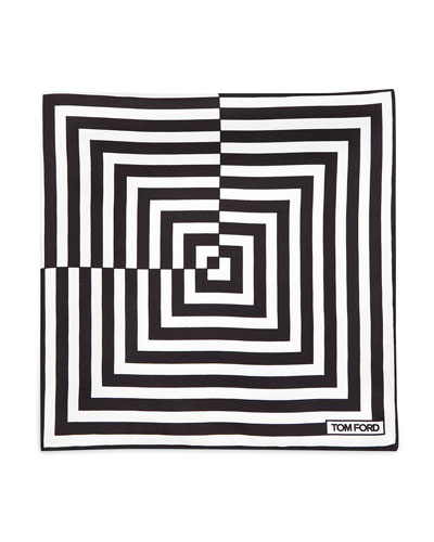 Linear Pattern Pocket Square, Black/White