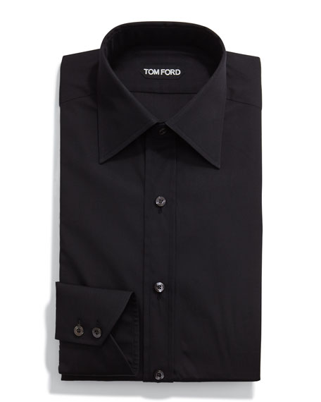 Classic Solid Dress Shirt, Black
