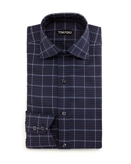 Large-Check Dress Shirt, Navy