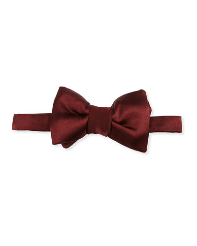 Solid Satin Bow Tie, Red