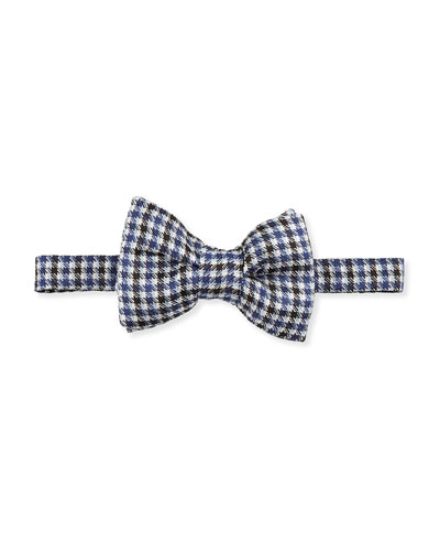 Houndstooth-Stripe Bow Tie, Blue