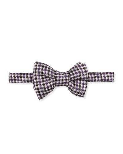Houndstooth Stripe Bow Tie, Purple