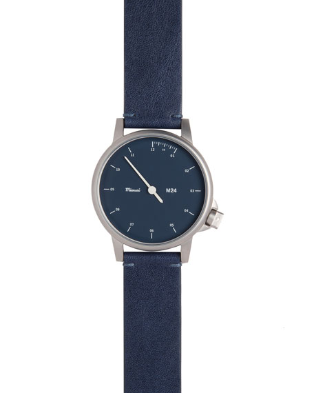 Stainless Steel Watch with Leather Strap, Navy