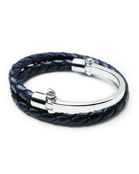 Miansai Half-Cuff with Woven Bracelet, Navy