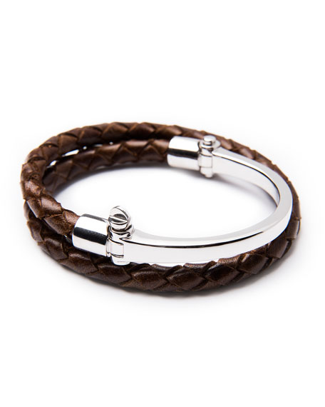 Half-Cuff with Woven Bracelet, Brown