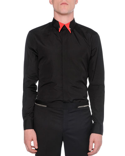 Contrast-Collar Button-Down Shirt, Black