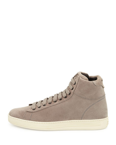 Russel Suede High-Top Sneaker, Light Gray
