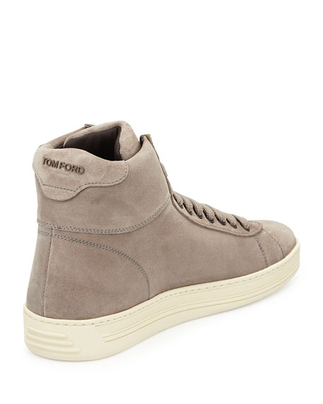 Men's Russel Suede High-Top Sneakers, Light Gray