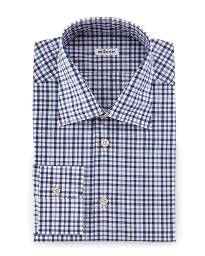Plaid Woven Dress Shirt, Blue/White