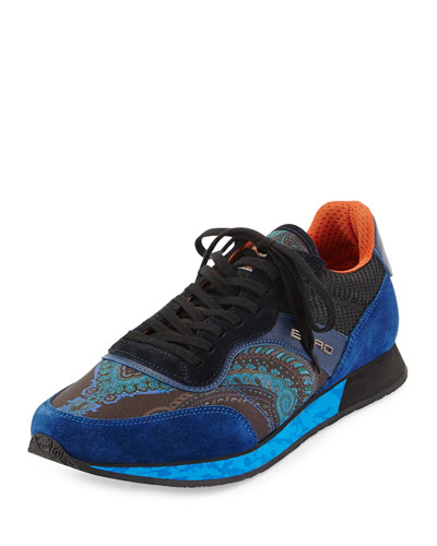 Multicolored Paisley-Print Trainer Sneaker, Blue